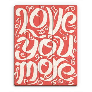 'Love You More on Red' Wood Wall Art