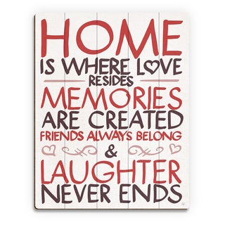'Home is Where Love Resides' Red Wood Wall Art