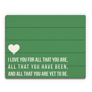 'I Love All That You Are' Green Wall Art on Wood