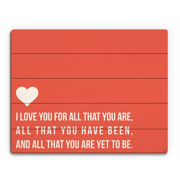 'I Love All That You Are' Red Wood Wall Art