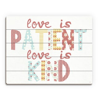 'Love is Patient, Kind' Wood Nursery Wall Art