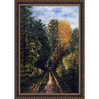 Claude Monet 'Wooded Path' Hand Painted Framed Oil Reproduction on Canvas