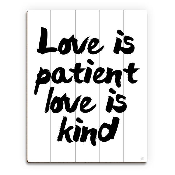 'Love is Patient, Kind' Wood Wall Art Print