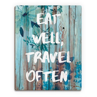 'Eat Well, Travel Often' Blue Wood Wall Art Print