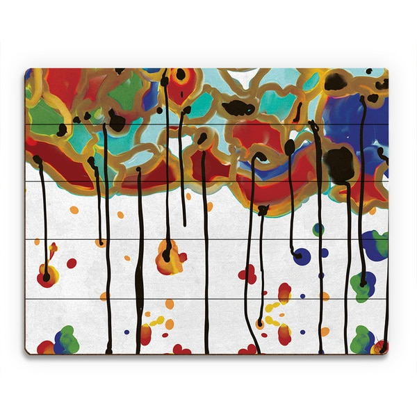 'Melting Colorful Trees' Wood Wall Art Print