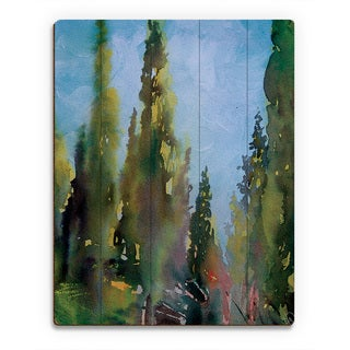 'Watercolor Trees' Wall Art Print on Wood