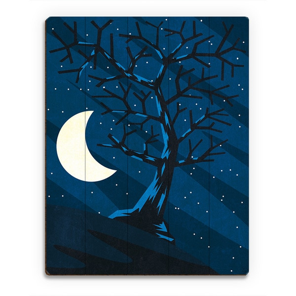 'Lonely Moon Tree' Wood Wall Art Print