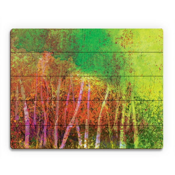 'Sprawling Chartreuse Grove' Wall Art Print on Wood
