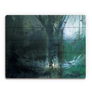 'Foreboding Cerulean Fir' Wall Art Print on Wood
