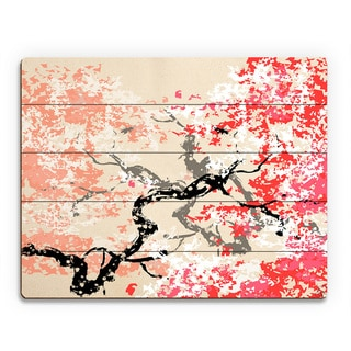 'Red Cherry Blossom' Abstract Wall Art Print on Wood