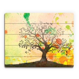 'Chartreuse Willow Silhouette' Wall Art on Wood