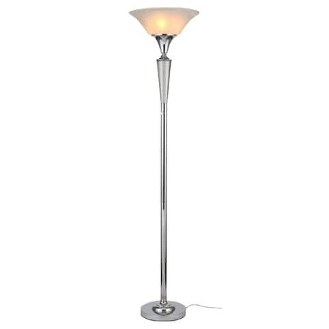 """Artiva USA Crystal Suite Collection 70""""H Modern Chrome 3-Light LED Crystal Torchiere Floor Lamp with Dimmer"""