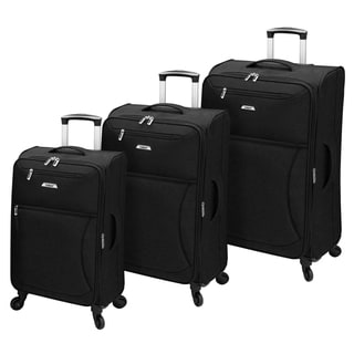 Leisure Vector Featherlights Black 3-piece Expandable Spinner Luggage Set