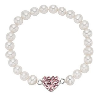 Pearlyta Sterlling Silver Children's Freshwater Pearl Pink Heart Charm Bracelet and Earring Set (4-5mm)