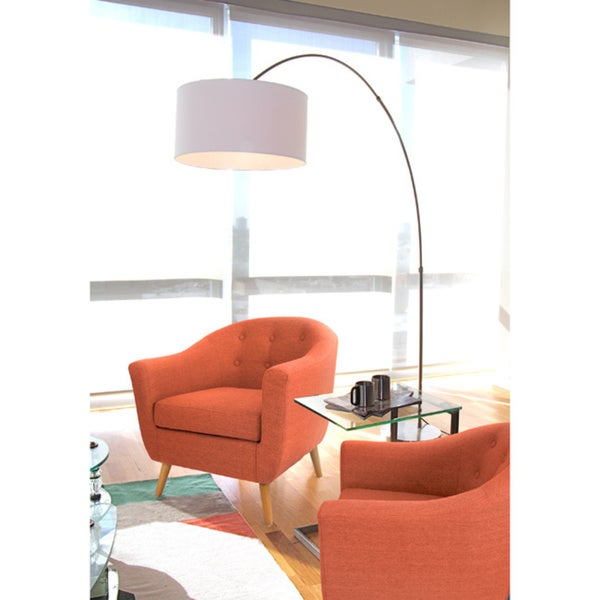 salon brushed metal arch floor lamp