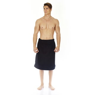 Men's Turkish Velour Cotton Soft Touch Striped Fleece Spa Bath Towel Wrap
