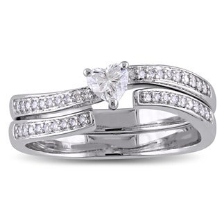 Miadora Signature Collection 14k White Gold Heart-Cut 3/8ct TDW Diamond Two-Piece Bridal Ring Set