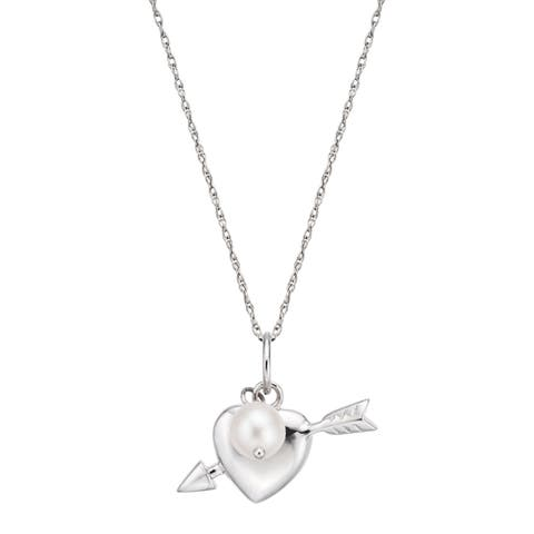 Pearlyta Sterling Silver Freshwater Pearl Heart and Arrow Necklace (5 - 6mm) - White