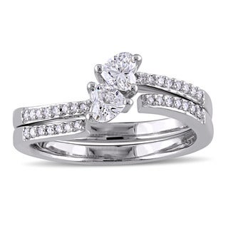 Miadora Signature Collection 14k White Gold Heart-Cut 1/2ct TDW Diamond Bypass Two-Piece Bridal Ring Set (G-H, SI1-SI2)
