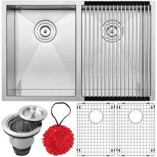 Ticor 29 Inch S3520-KIT 16 Gauge Stainless Steel Double Bowl Undermount Square Kitchen Sink w/ Zero Radius Corners