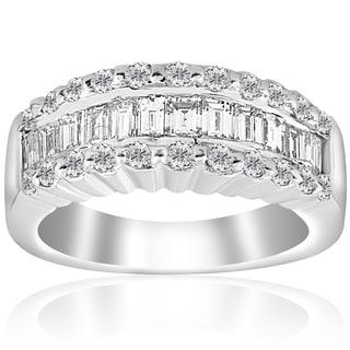 18k White Gold 1 5/8 ct TDW Baguette Diamond Wide Wedding Anniversary Ring