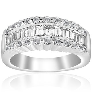 18k White Gold 1 5/8 ct TDW Baguette Diamond Wide Wedding Anniversary Ring