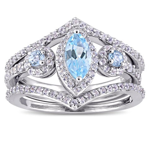 Miadora Sterling Silver Marquise-Cut Sky-Blue Topaz and White Topaz Three-Piece Ring Set - Blue