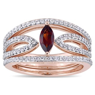 Miadora Rose Plated Sterling Silver Marquise-Cut Garnet and White Topaz Three-Piece Ring Set