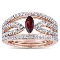 Miadora Rose Plated Sterling Silver Marquise-Cut Garnet and White Topaz Three-Piece Ring Set - Red