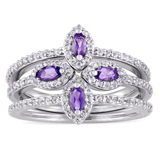 Miadora Signature Collection Marquise-Cut Amethyst and White Topaz Four Leaf Flower Three-Piece Ring Set
