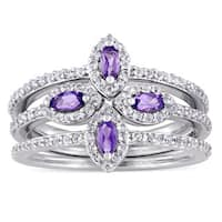 Miadora Sterling Silver Marquise-cut Amethyst and White Topaz Four Leaf Flower 3-piece Ring Set