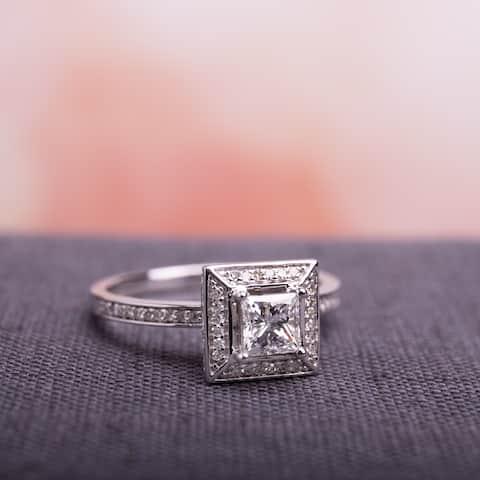 Miadora Signature 14k White Gold 3/4ct TDW Princess and Round Diamond Double Square Halo Engagement Ring