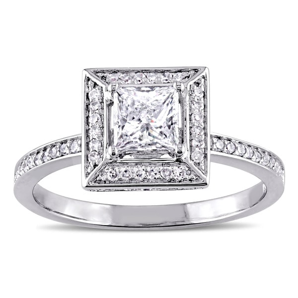 Miadora Signature 14k White Gold 3/4ct TDW Princess and Round Diamond Double Square Halo Engagement Ring