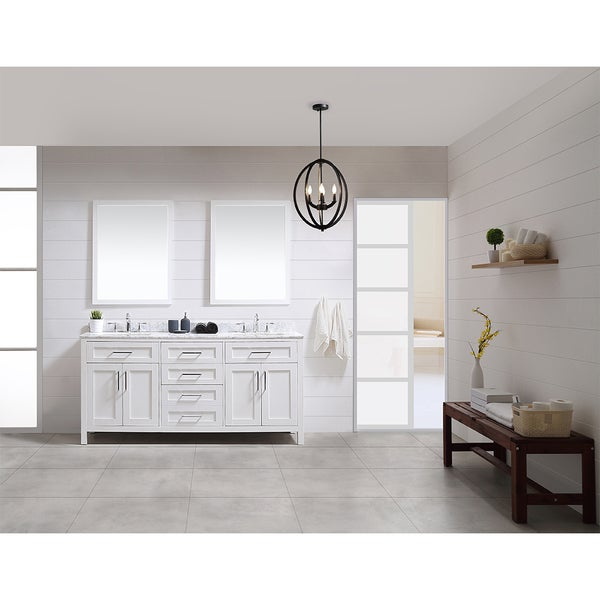 Shop Tahoe 72 Vanity In White With White Carrera Marble Top And
