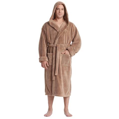 Men's Hooded Sateen Touch Fleece Bathrobe Turkish Soft Plush Robe