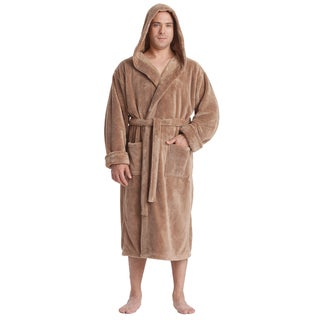 Men's Hooded Sateen Touch Fleece Bathrobe Turkish Soft Plush Robe