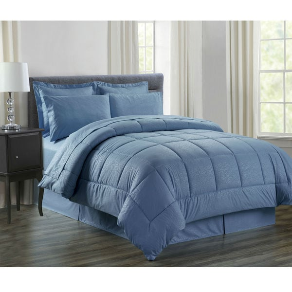 8-Piece Vine Slate Blue Down Alternative Bed-In-Bag