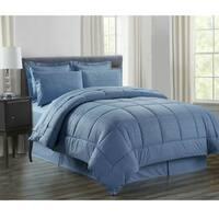 8-Piece Vine Slate Blue Down Alternative Bed-In-Bag