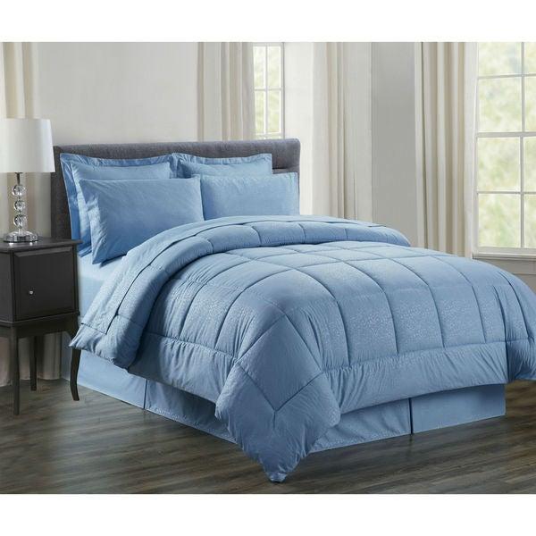 8-Piece Vine Ocean Blue Down Alternative Bed-In-Bag
