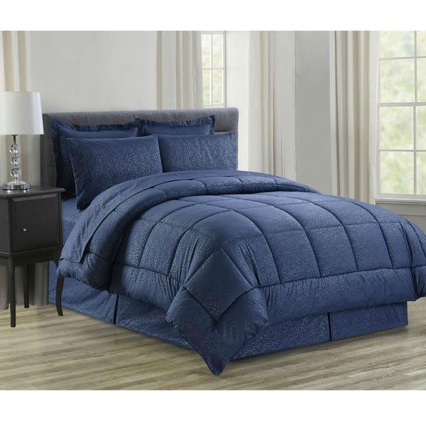 8-Piece Vine Navy Down Alternative Bed-In-Bag