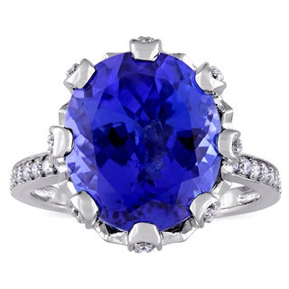 Miadora Signature 14k White Gold Oval-Cut Multi-Prong Set Tanzanite and 1/2ct TDW Engagement Ring (G-H, SI1-SI2)