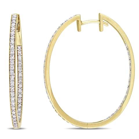 Miadora Signature Collection 10k Yellow Gold 2/5ct TDW Diamond Slender Hoop Earrings