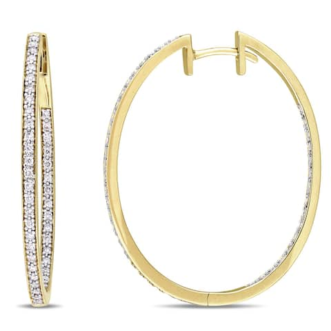 Miadora Signature Collection 10k Yellow Gold 2/5ct TDW Diamond Slender Hoop Earrings - White