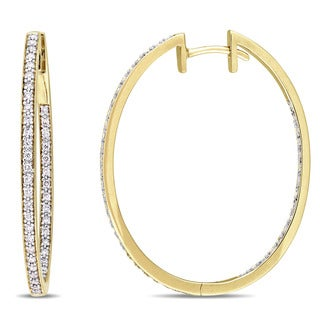 Miadora Signature Collection 10k Yellow Gold 2/5ct TDW Diamond Slender Hoop Earrings