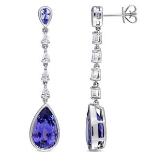 Miadora Signature Collection 14k White Gold Pear-Cut Tanzanite and 1/2ct TDW Pear-Shaped Dangle Earrings (G-H, SI1-SI2)
