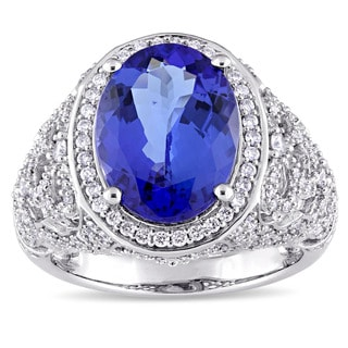 Miadora Signature 14k White Gold Oval-Cut Tanzanite-CN and 7/8ct TDW Round-Cut Halo Cluster Ring (G-H, SI1-SI2)