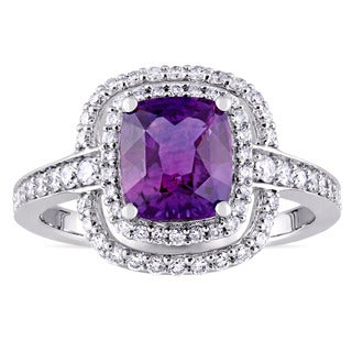 Miadora Signature 14k White Gold Cushion-Cut Violet Sapphire and 1/2ct TDW Double Halo Engagement Ring (G-H, SI1-SI2)