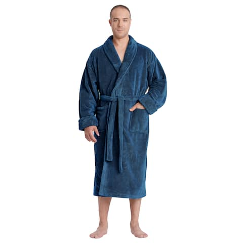 Men's Satin Touch Shawl Fleece Bathrobe Turkish Soft Plush Robe