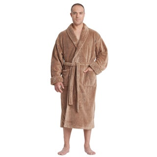 Men's Satin Touch Shawl Fleece Bathrobe Turkish Soft Plush Robe (More options available)