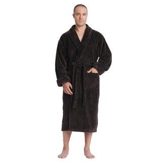 Men's Satin Touch Shawl Fleece Bathrobe Turkish Soft Plush Robe